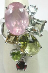 Ring  Unusual Rose Quartz Blue Topaz Citrine Garnet  Statement Sterling Silver