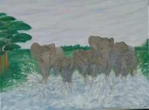 "Original oil painting on canvas 60x46cm ""Elephant splosh"" by artist lahardy."