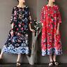 ZANZEA Women Vintage Boho Plus Size Kaftan A-Line Swing Long Maxi Floral Dress