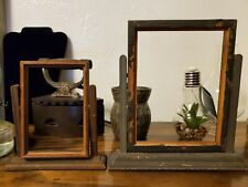 Vintage Lot of 2 Wooden Swing Picture Frame In Stand