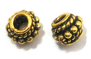 WHOLESALE BEADS 7MM SOLID COPPER BALI SPACER BEAD OXIDIZED GOLD PLATED B 42