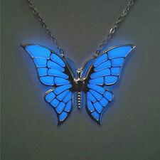 Blue Butterfly Glow in the Dark Necklace Glowing Pendant in silver