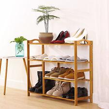 4 Tier Natural Wood Bamboo Shelf Entryway Storage Shoe Rack Home Furniture