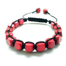 men's bracelet Red Cube beads braided shamballa wristband cuff accessory gift