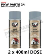 2x K2 BREMSSATTELLACK SPRAY 400ML BRAKE CALIPER PAINT SILBER BREMSATTELFARBE