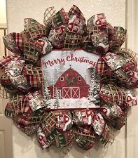 "FARMHOUSE BARN Merry Christmas WREATH BURLAP Deco Mesh WOODLAND RUSTIC 22"" x 22"""
