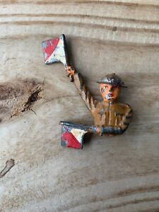 """Antique Metal Toy Soldier w Semaphore Flags 4"""" Barclay Signal Corps Tin Hat 1935"""