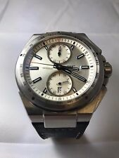 IWC INGENIEUR RACER CHRONOGRAPH IW378509 SILVER DIAL BLUE HANDS CROC STRAP 2016