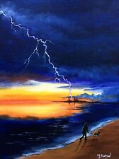 MAL.BURTON ORIGINAL OIL PAINTING  LIGHTNING STRIKE NORTHERN ART DIRECT