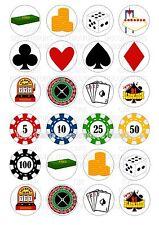 24 Casino Poker Vegas Helado/Glaseado Cupcake Topper Comestible Hada Cake Bollo Toppers