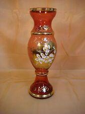"SLAVIA GLASSWORKS RUBY RED CRYSTAL VASE 12"" TALL SLAVIA GLASSWORKS CZECH GOLD"