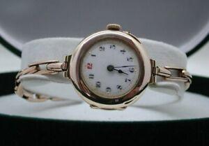 Antique 1913 Ladies Beautiful 9 carat Rose Gold Bracelet Watch In Super Order