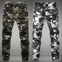 HOT Men Camo Military Camouflage Pants Joggers SPORT Running Sweatpants Trouser