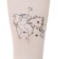Waterproof Temporary Fake Tattoo Stickers Vintage Hand-Painted Map Geometric JE