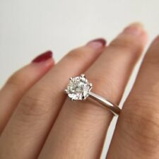 2.50Ct Round Cut Diamond 6 Prong Solitaire Engagement Ring 14k White Gold Over