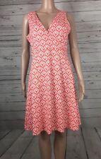 New York And Company Size Medium M Women's Shift Dress Orange White Empire Waist
