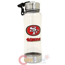 San Francisco 49ers Clip On Water Bottle Clear NFL Logo 16oz Drink Container