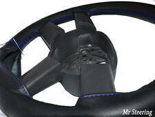 Couvre volant RANGE ROVER L322 100% cuir noir véritable coutures bleues 02-12