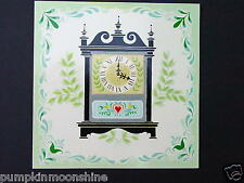Vintage Get Well Greeting Card Colonial Americana Tile Series Old Fashion Clock