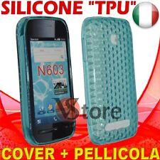 Cover Custodia Gel TPU Azzurro Per Nokia 603 silicone