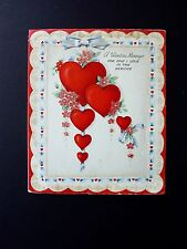 #G942- Vintage Unused Patriotic Valentines Day Greeting Card Glittered Hearts