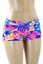 EXTRA SMALL Tahitian Floral UV Glow Low Rise Rave Festival Shorts Ready To Ship!