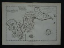 1787 Bonne Desmarest Atlas map  GUADELOUPE - MARTINIQUE - MARIE-GALANTE Desirade