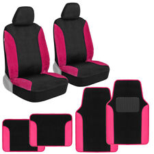 Hot Pink Fur Car Seat Cover & Floor Mats Combo for Car SUV Truck Two Tone Color