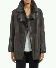 bnwt Nicole Farhi (mainline)'Merinillo' grey shearling biker jacket.uk 12.£2000
