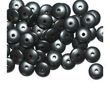 Flat Rondelle 3x8mm Gunmetal Gray Pewter Color Metalized Metallic Beads