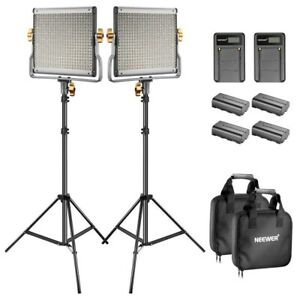 Neewer 2 Pack Dimmable Bi-Color 480 LED Light Stand Kit with Batteries/Holdall