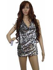 Bebe Women Top Satin Sequins Halter sleeveless backless V Neck BrandNew Small