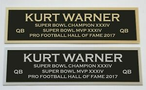 Kurt Warner nameplate for signed jersey football helmet or photo