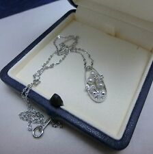 "NEW! Mikimoto Akoya Pearl Silver Pendant Necklace ""4 Leafed Clover"" AUTH!"