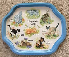 "Vintage Metal ""Favourite Cats"" Decorative Serving Tray ""Elgate Products Ltd"""
