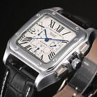 Luxury Men's White Dial Automatic Mechanical Date Day 24 Hrs Leather Wrist Watch