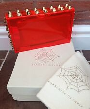CHARLOTTE OLYMPIA RED STUDDED PANDORA PERSPEX CLUTCH RETAIL £875 MADE IN ITALY
