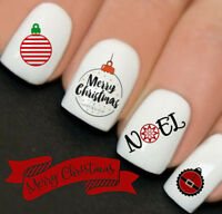 Christmas Team Santa Baubles Nail Art Water Transfers Decals Stickers Wraps Y148