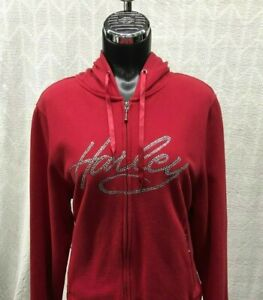 Harley Davidson Women's Red Hoodie with Embellished Graphics