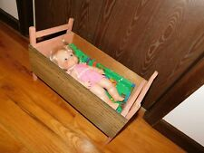 Pink Handmade Doll Bed + 1971 Softina Eegee Rubber Doll + Doll Quilt with Bugs