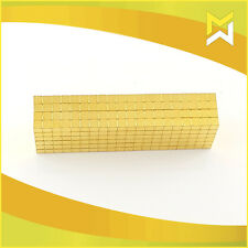 50 Stück Neodym Würfel Magnete 5x5x5mm, N45, Gold