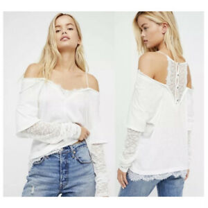 We The Free People Off the Shoulder Top Womens Size Small White Lace Semi-Sheer