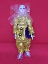 Royal Heirloom Harlequin Pierrot Jester Clown Mardi Gras Porcelain Doll Gold