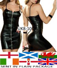BLACK SHINY WET LOOK DRESS ZIP FRONT PVC STYLE PUNK ROCK GOTH CLUBWEAR BONDAGE