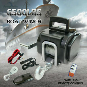 6500LBS Electric Boat Winch 12V Portable Detachable 10m Steel Cable with Remote