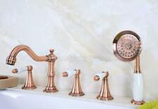 Antique Red Copper Roman Tub Bath Faucet with Hand Shower Spray Ptf211