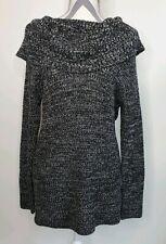 Preswick & Moore Womens Black White Gray Chunky Cowl Neck Sweater XL