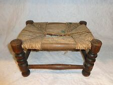Antique Pennsylvania Wood Foot Stool, Weaved Seat, Turned Legs, Primitive