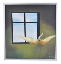 Surrealist Oil Painting Flowering Bud in Front of Window to Sky signed Olivares
