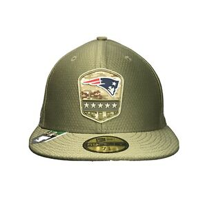 """Patriots 59FIFTY Fitted 7 1/8 New Era Mens NFL Official Hat, """"Salute to Service"""""""